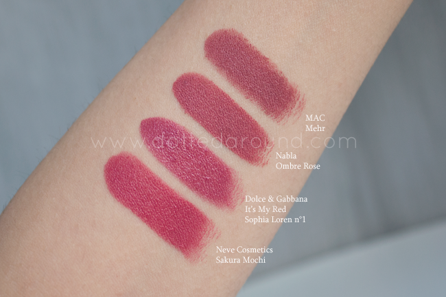 Dolce Gabbana Sophia Loren lipstick swatches