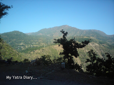 Nature with trees and mountains in the backdrop in the Garhwal Himalayas in Uttarakhand