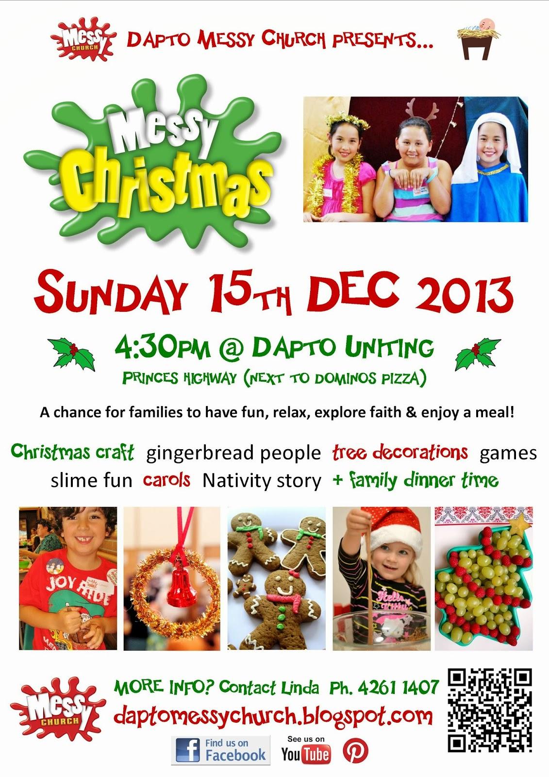 Messy Church @ Dapto Uniting: INVITE: Messy Christmas 2013