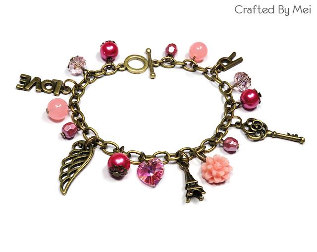 pink Beaded Charm Bracelets