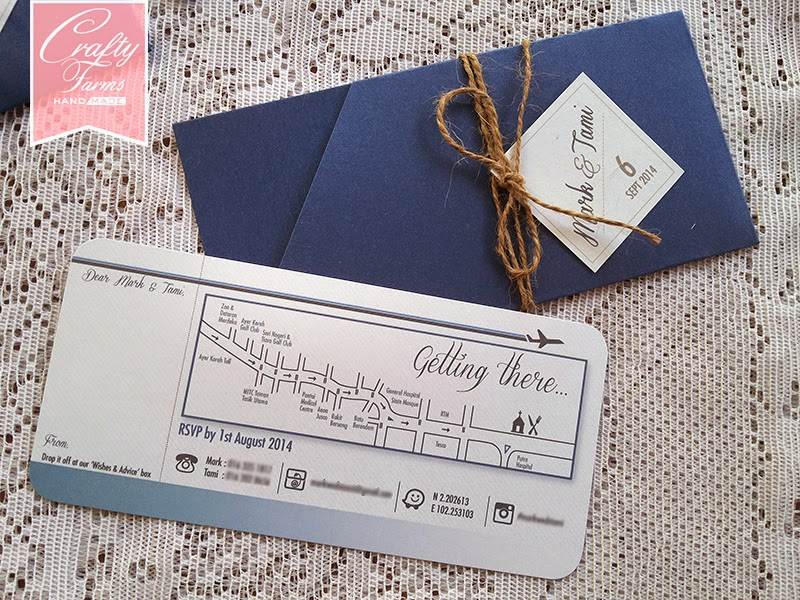 Gradient Blue Destination Themed Boarding Pass Wedding Card with Map