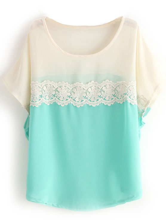 Beautiful Green White Short Sleeve Lace Chiffon Blouse