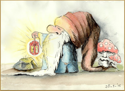 The Hermit, gnome - pen and watercolour