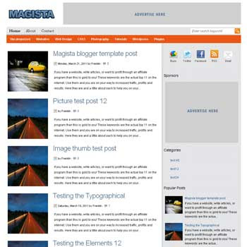 Magista<br /> blogger template. 3 column footer blogger template