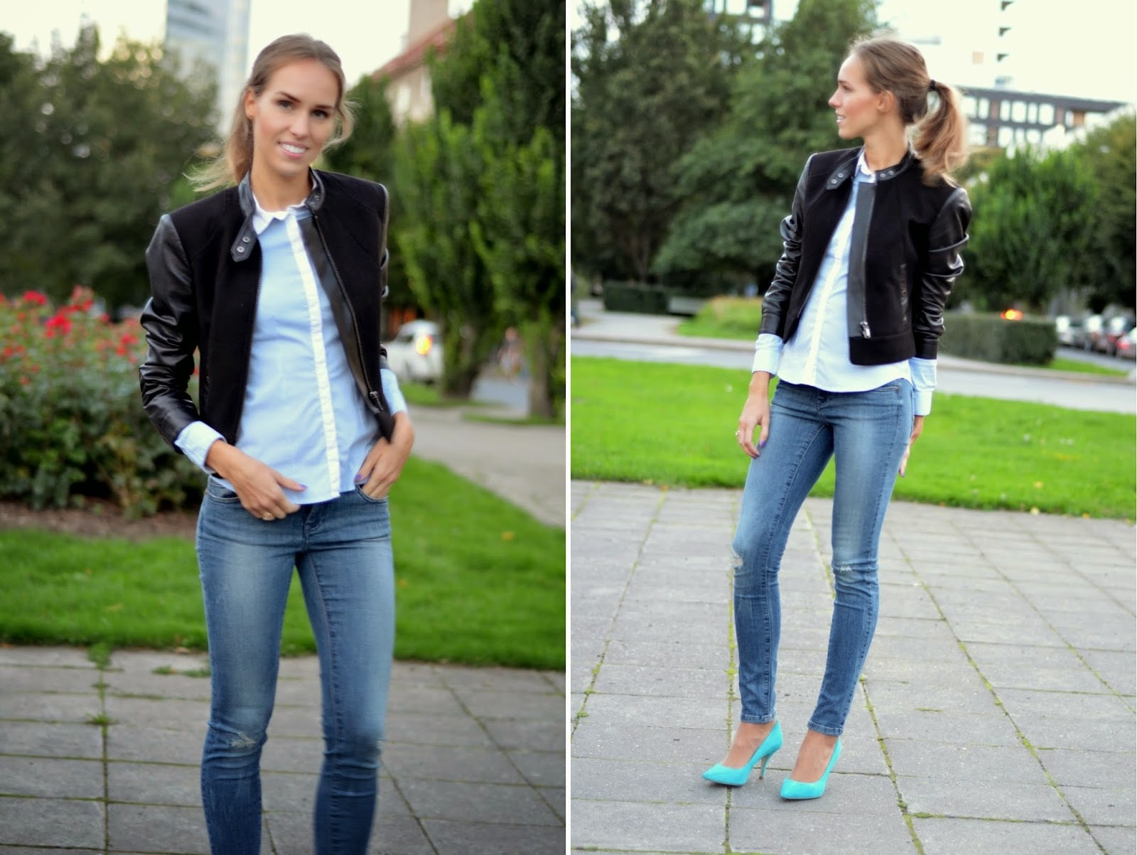 hm-blue-button-down-shirt-leather-sleeve-jacket-river-island-court-shoes