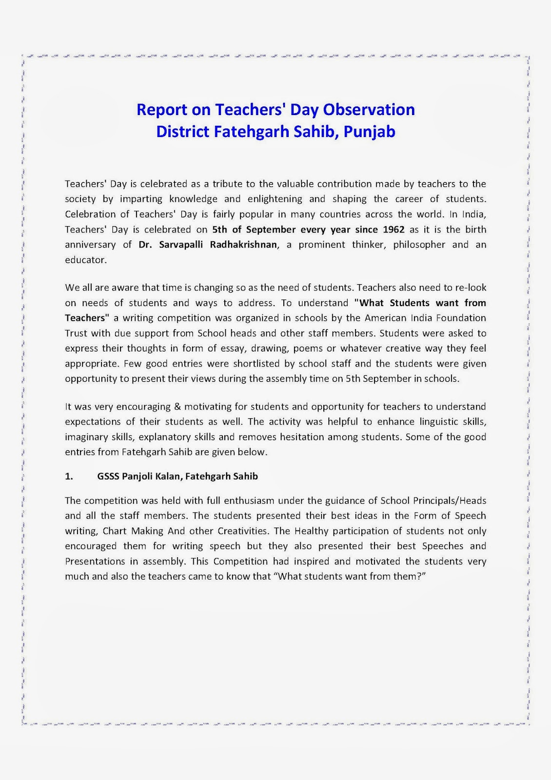 essay of world teachers day Find short and long essay on teacher's day for students under words limit of 100, 200, 300 teachers day is celebrated to appreciate our teachers for their unconditional efforts and unselfish contribution in the success of nation teacher's day essay 3 (300 words) in world.