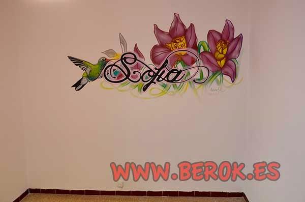 Graffiti decorativo para habitación de niña