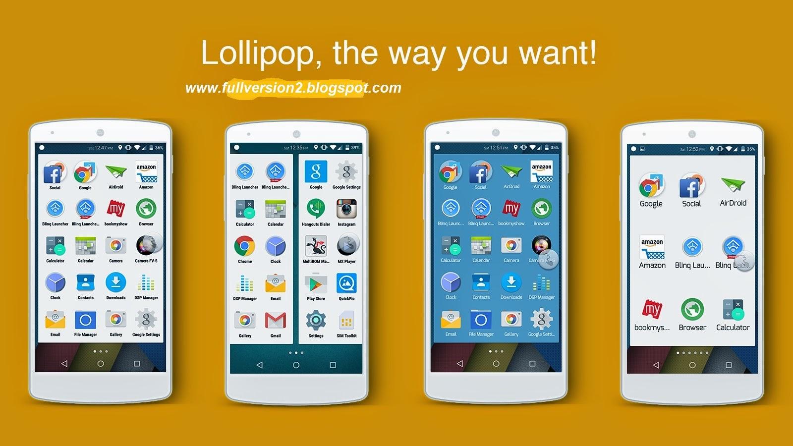 Download Blinq Lollipop Launcher Prime v2.0 Patched Apk | Download Full Version Free Softwares