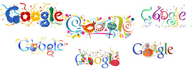 Diferentes doodles de Google de Carnaval