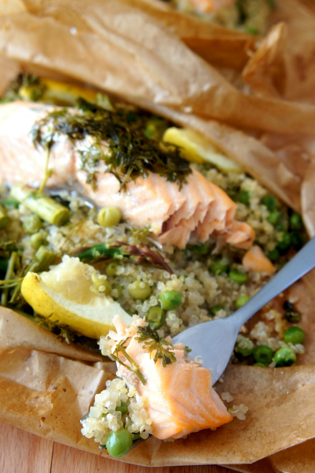 Salmon on a fork
