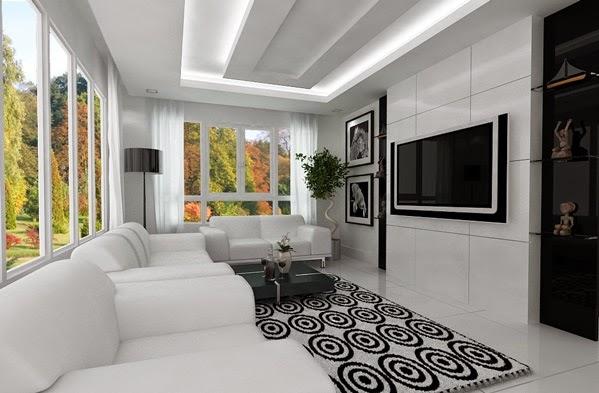 Salas modernas en blanco y gris colores en casa for Decoraciones de casas modernas 2016