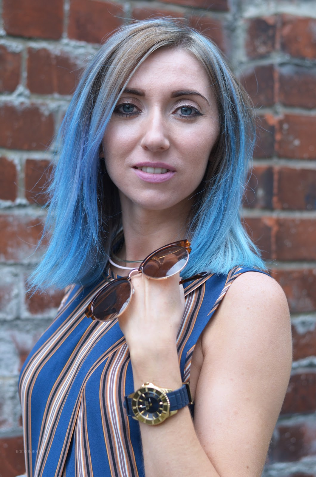 ASOS stripes and blue hair