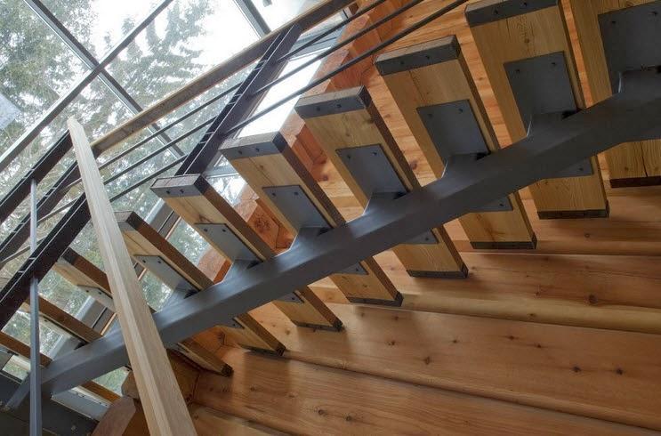 Dise o de casa de madera de tres pisos m s planos fachada for Plano escalera madera