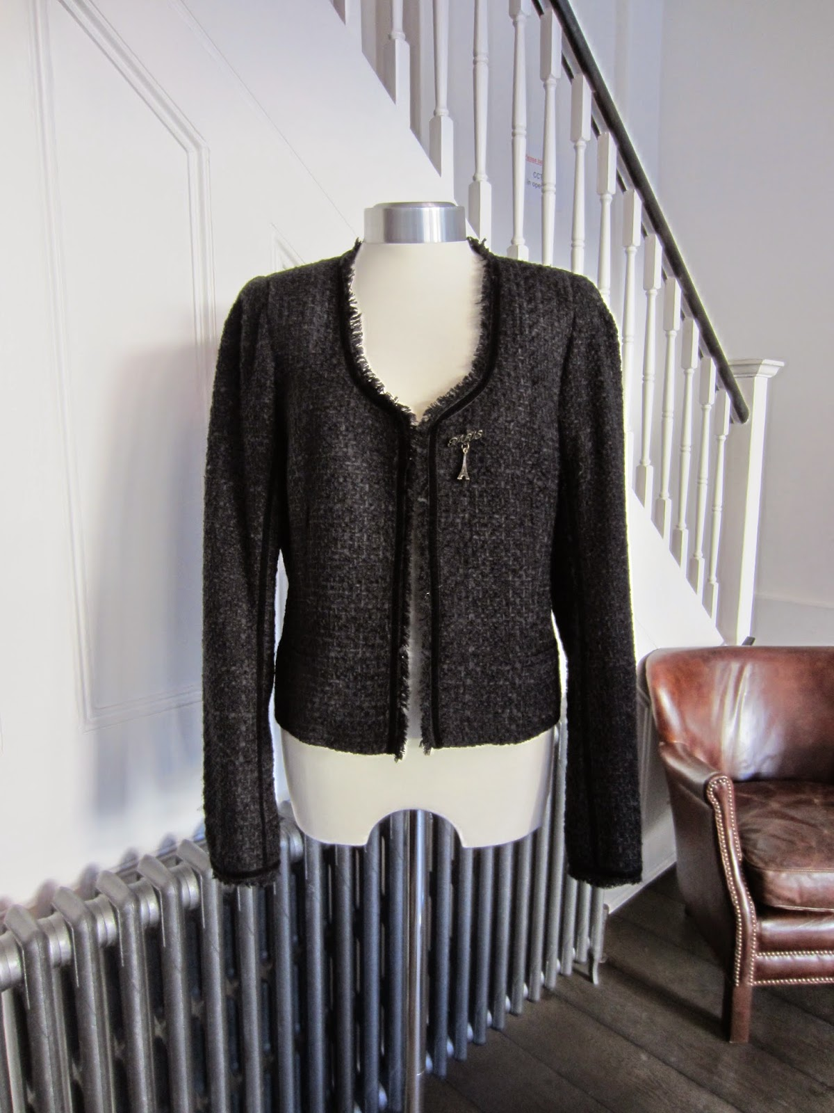 Maison Scotch Black Boucle Jacket with Paris Brooch