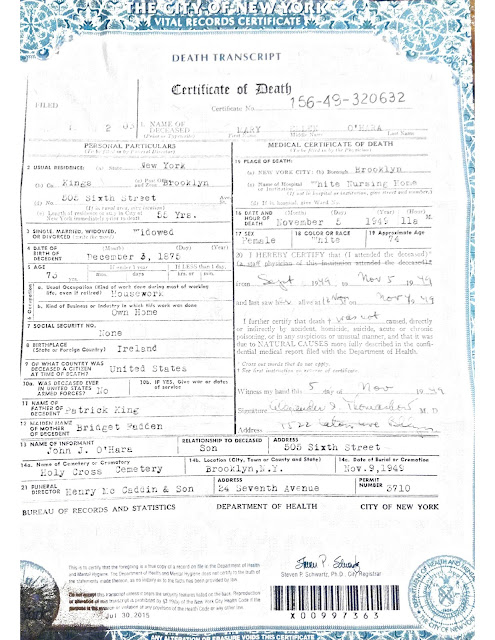 NYC Department of Health, death certificate, vital record, New York City, 1949 death certificate, New York City death certificate