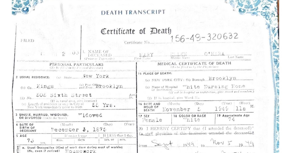 You Are Where You Came From: The death certificate of Mary King O ...