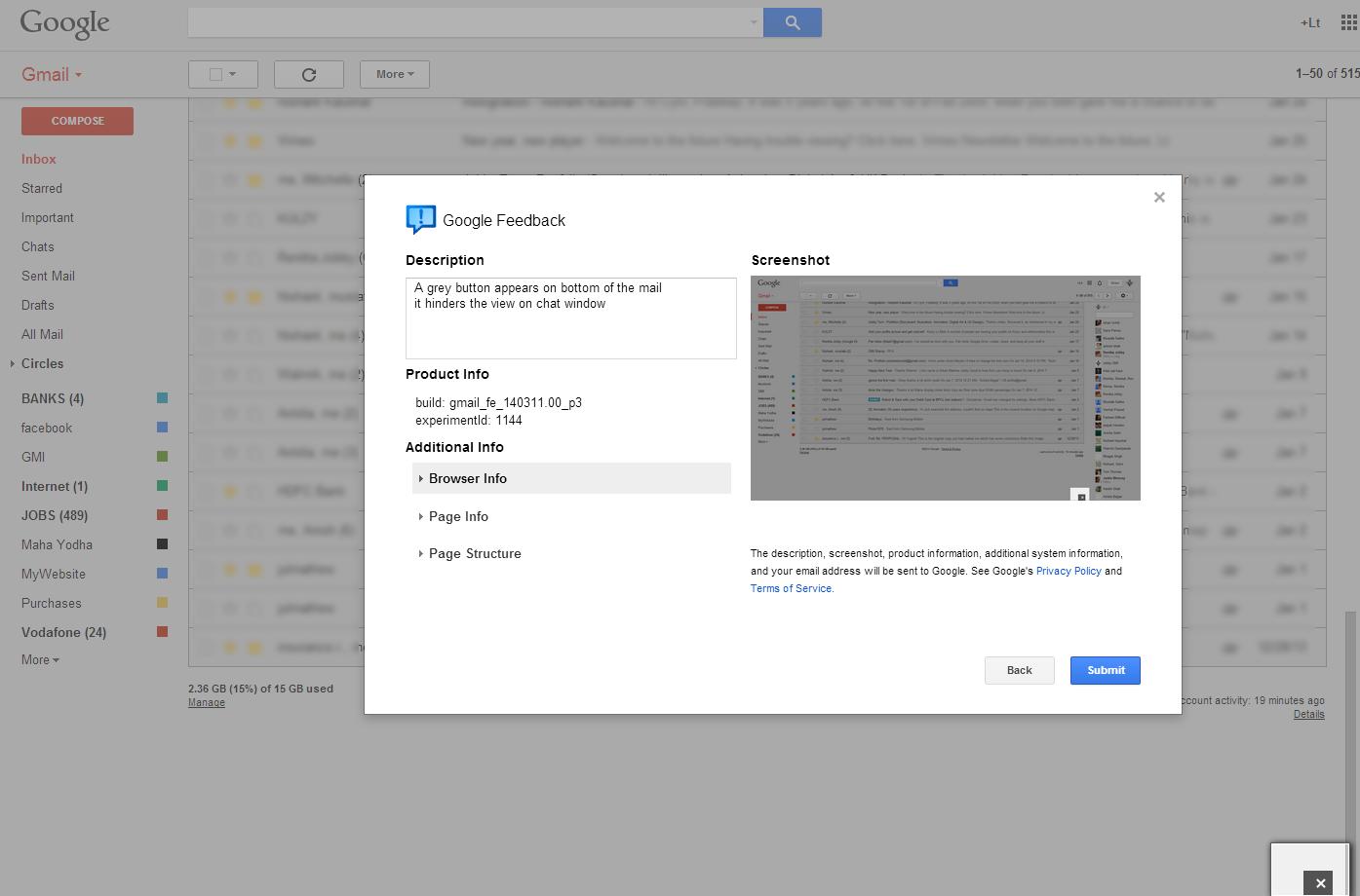 Lt Blak submit Gmail feedback