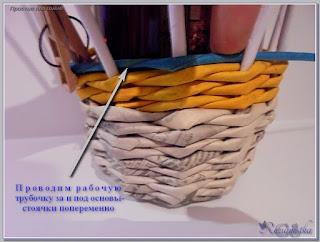 простой вид плетения из газет