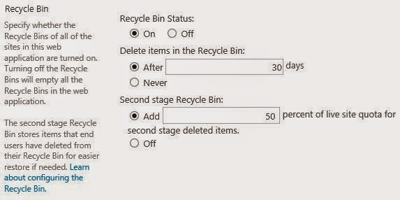 SharePoint 2013 Recycle Bin Settings