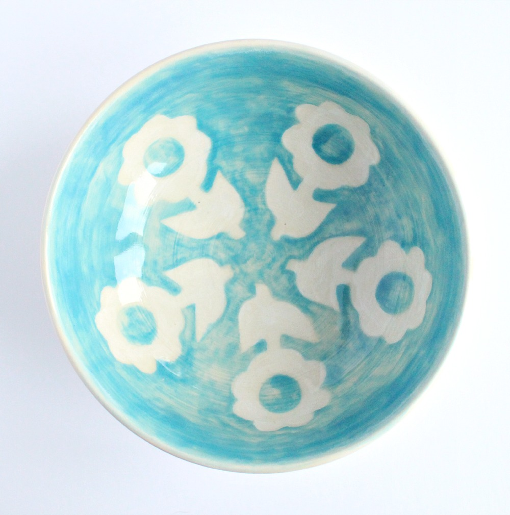 Aqua Flower Pottery Bowl