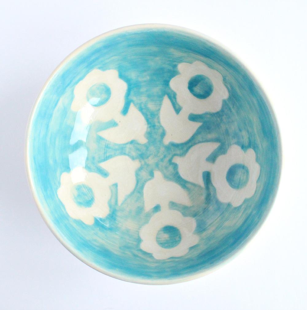 Aqua Flower Pottery Bowl