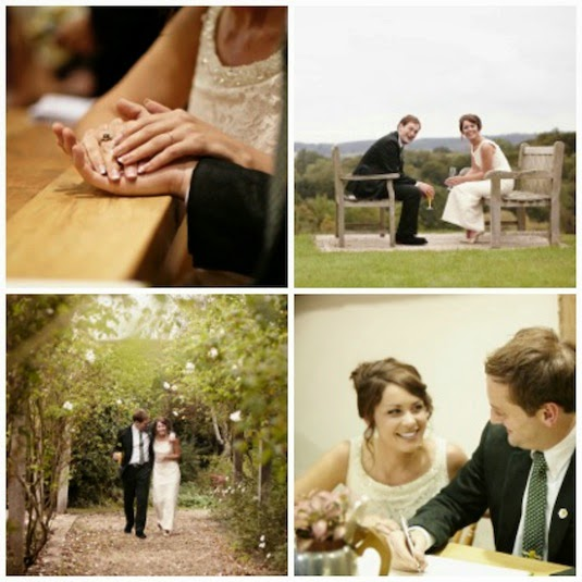 Four images of vintage bride Clare and Ed