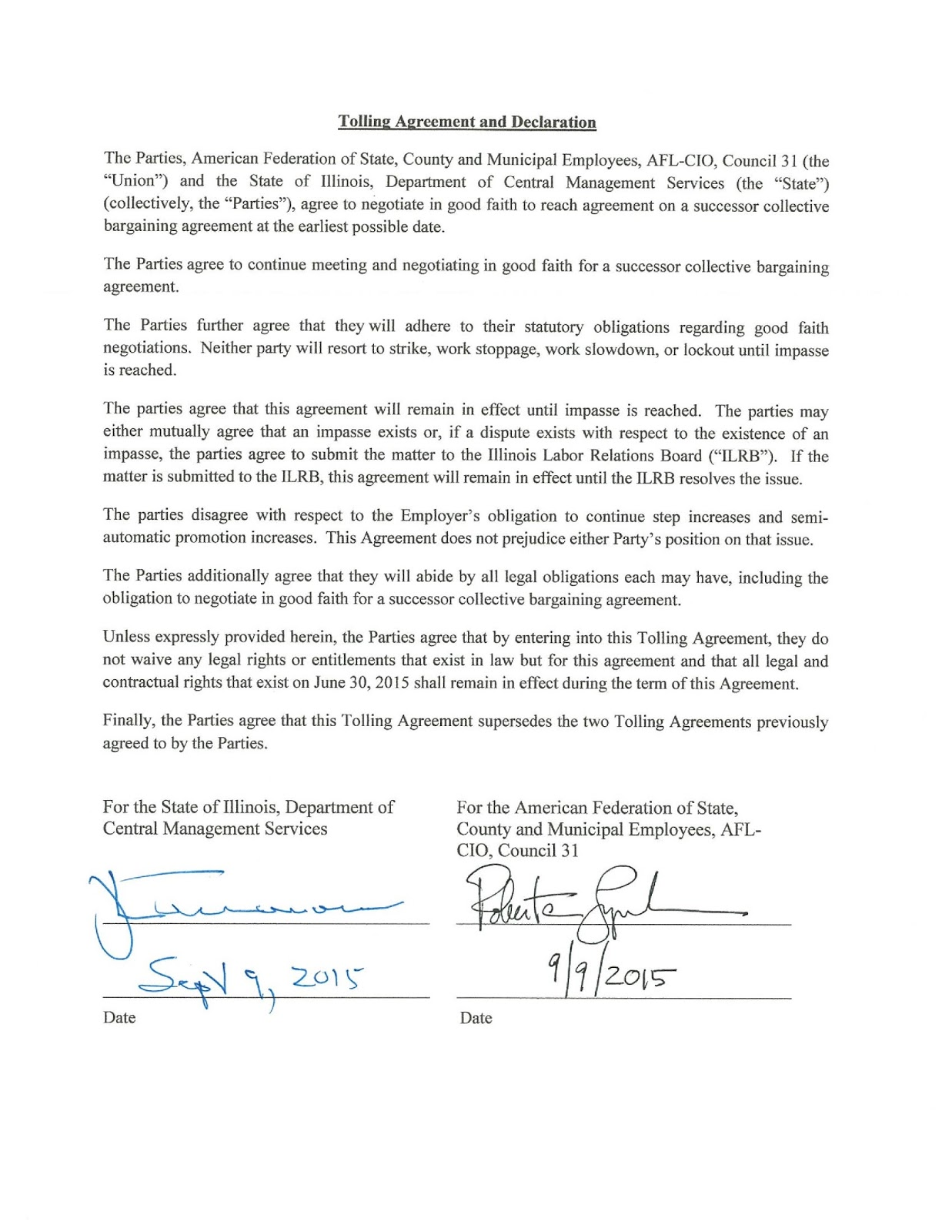 Illinois State Representative Cd Davidsmeyer Tolling Agreement