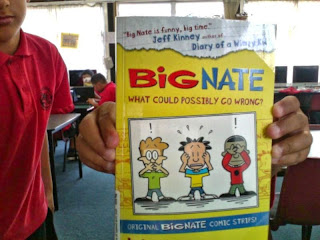 Big Nate book being held by a student