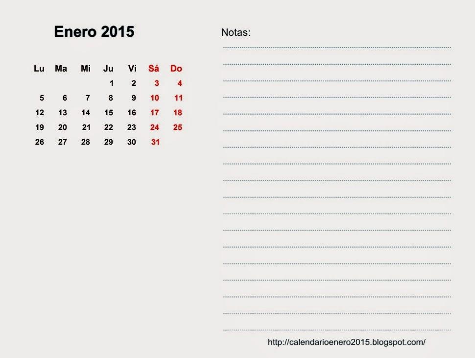 Calendario Para Imprimir Enero 2015, Enero 2015 Calendario Gratis