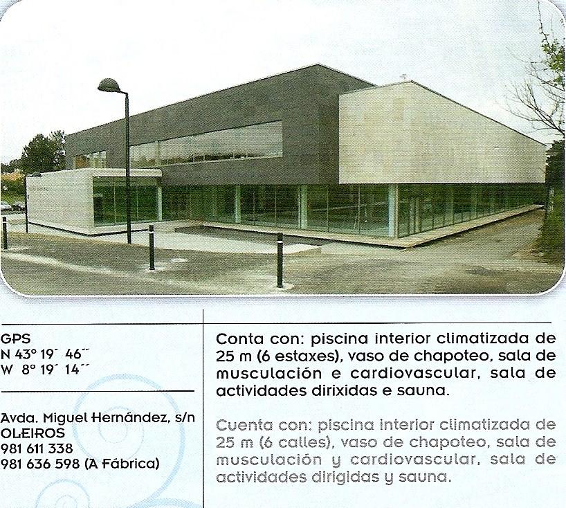 Sintonia deportiva oleiros complejos deportivos for Piscina municipal oleiros
