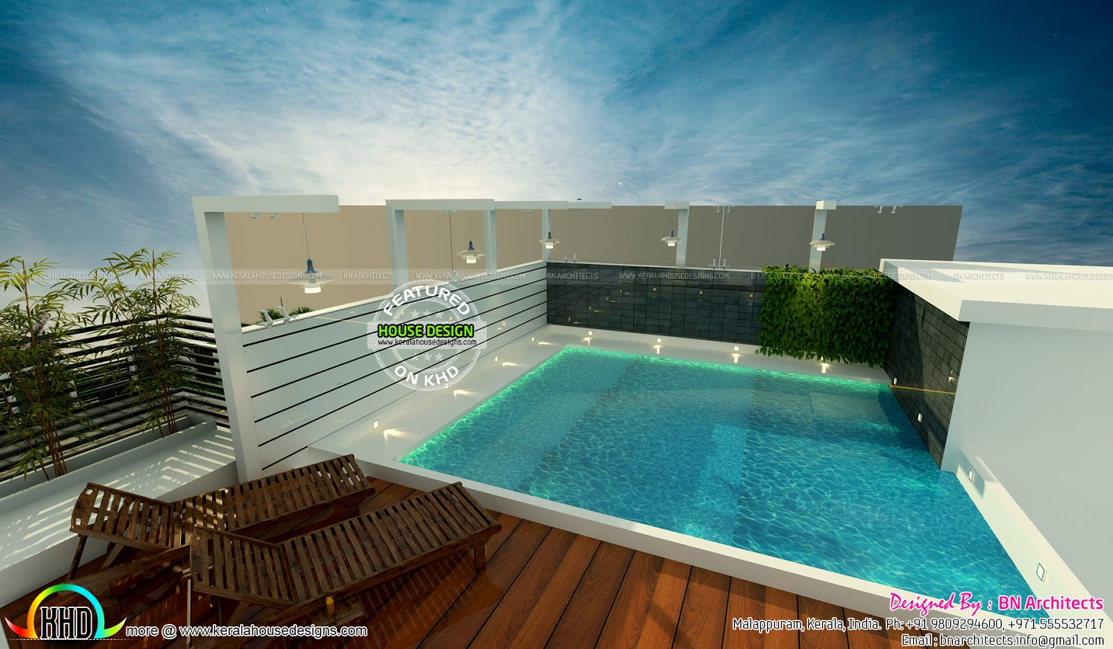 Kerala home design and floor plans awesome interior views - Rooftop swimming pool designing and planning ...
