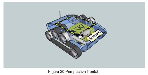 Perspectiva frontal - Veículo movido por esteiras Orbital