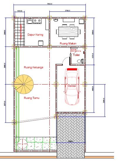 desain rumah autocad m2
