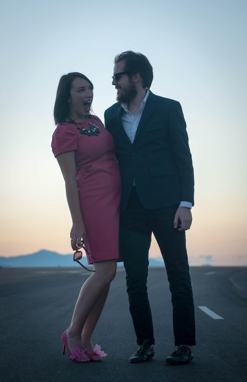 ootd, couples fashion, couples style, banana republic blazer, karen walker betsy sunglasses, mac red lipstick