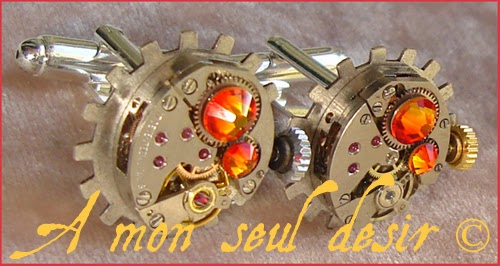 Boutons de Manchette Steampunk Mécanisme mouvement de montre mécanique Rouage gear wheel watchwork silver cuff button ClockWork