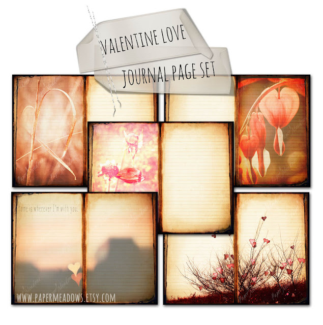 Valentine's Day Love Journal Page Set. You can purchase and download our photography creations and instantly print at home from our Paper Meadows Photography Shop on ETSY. To Visit our shop now click here.