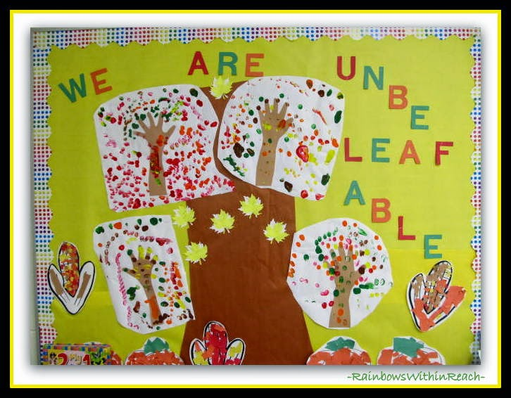 Fall Painted Hand Print Bulletin Board {via Hand RoundUP at RainbowsWithinReach}