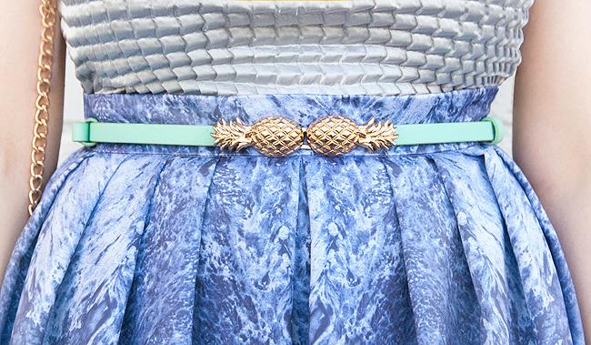 pineapple belt, golden pineapple, blogger look