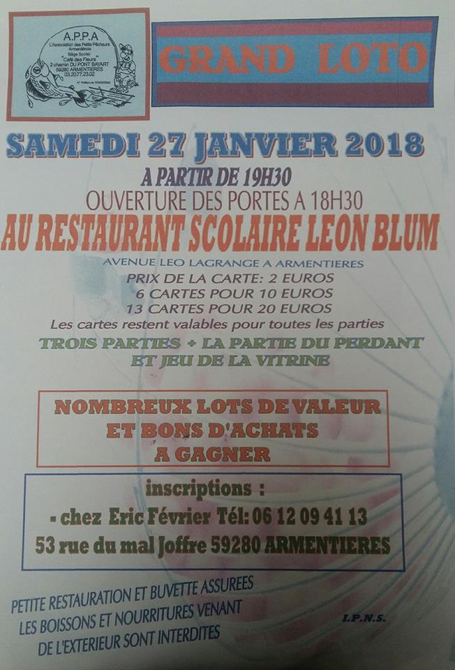 Grand Loto de l'APPA le 27 janvier à 19h30 au restaurant scolaire Léon-Blum