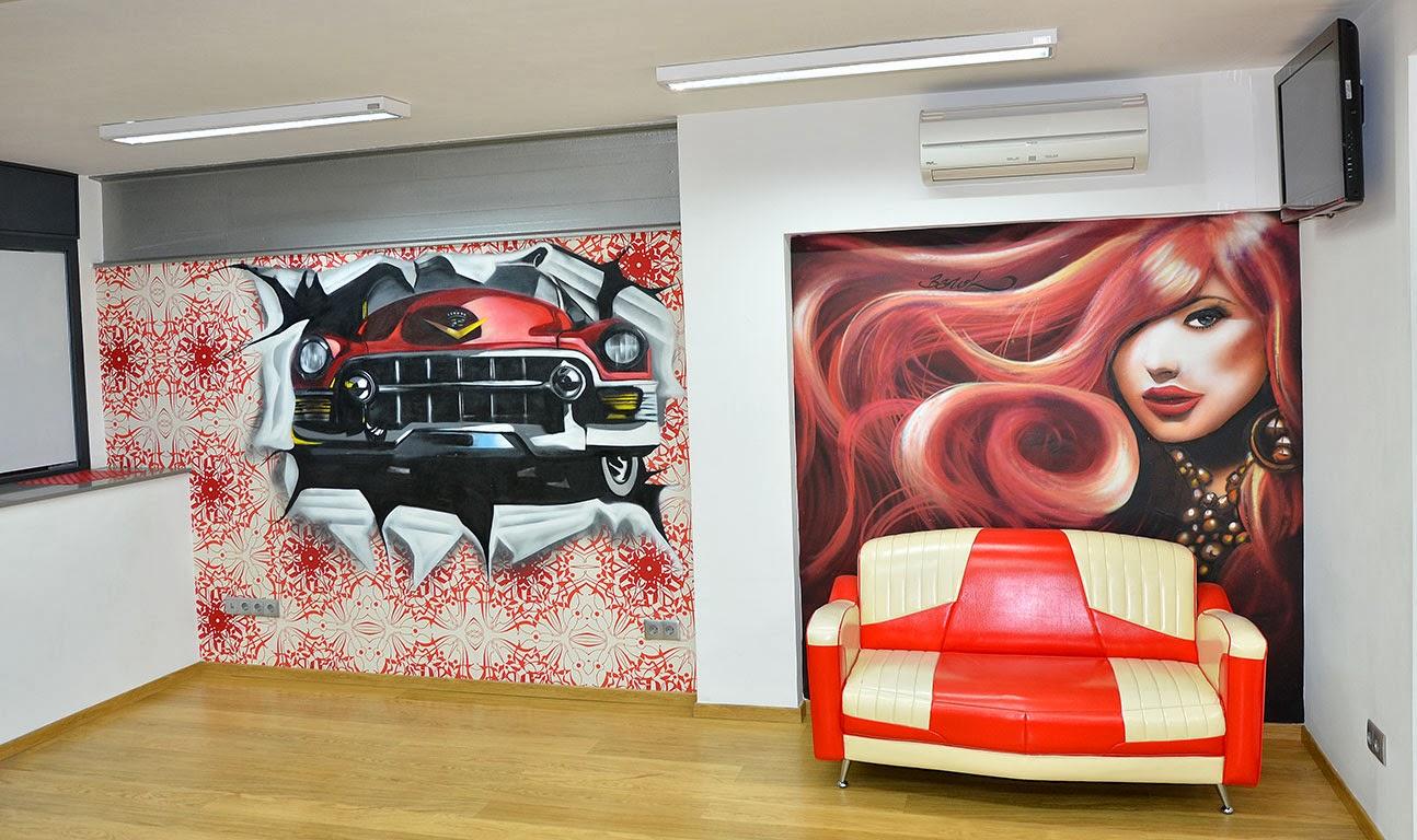 Berok graffiti mural profesional en barcelona decoraci n - Como amueblar una peluqueria ...
