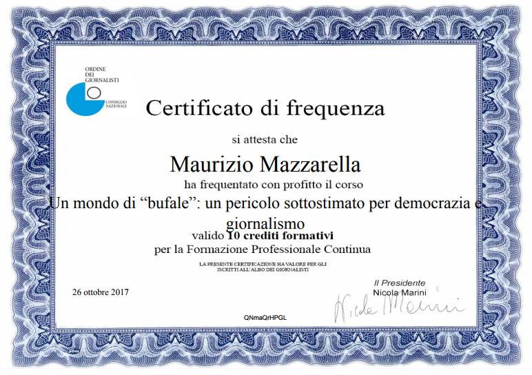 """Certifica di Frequenza """"Un mondo di """"bufale"""": un pericolo sottostimato per democrazia e giornalismo"""