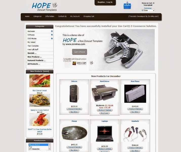 Hope - Free ZenCart Template
