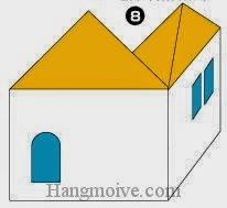 Bước 8: Vẽ cửa sổ, cửa đi để hoàn thành cách xếp ngôi nhà hai mặt bằng giấy origami đơn giản.
