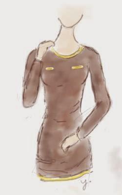 Brown Long Sleeve T-shirt Sketch