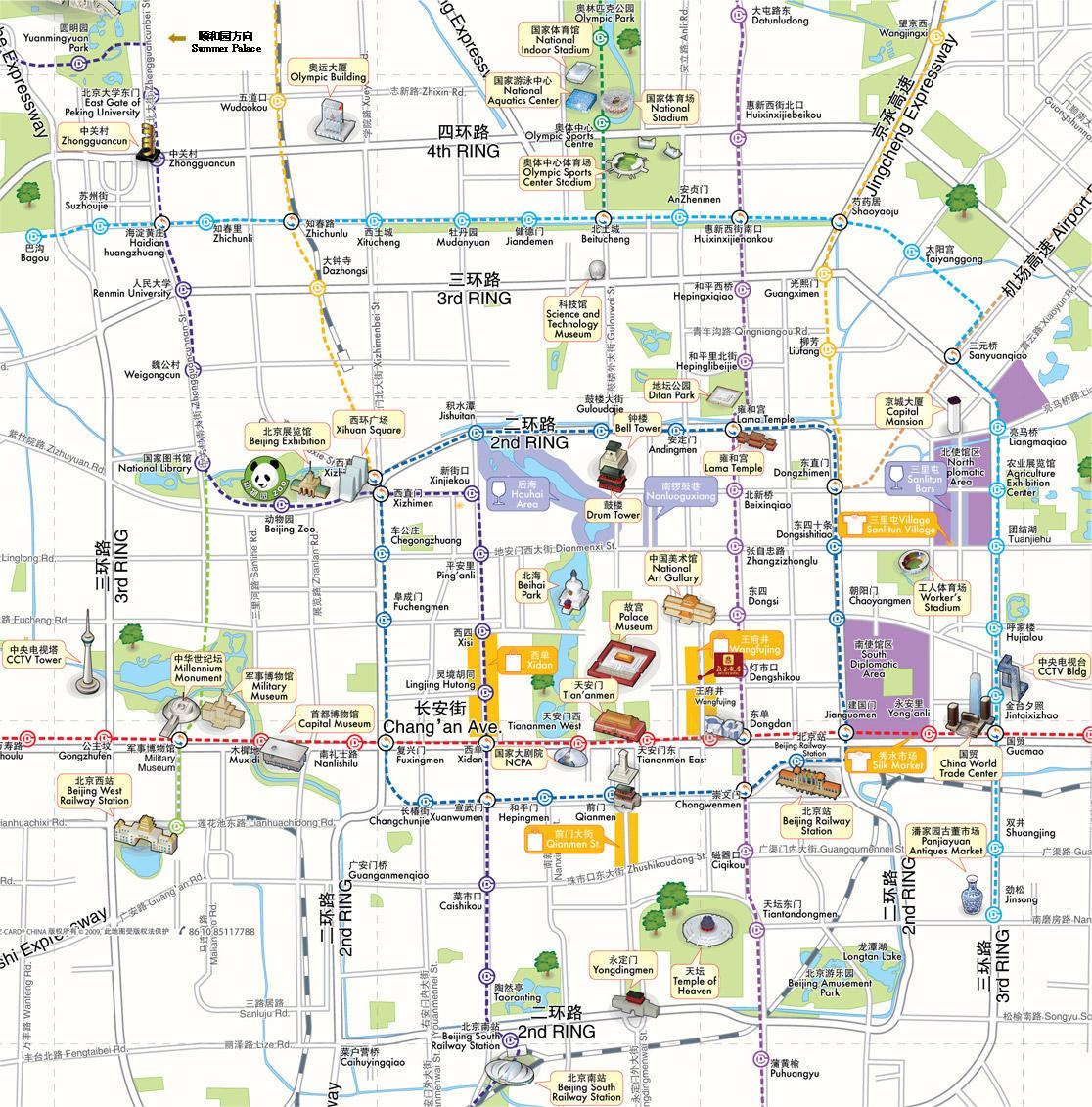 Mapa Turistico de Pequim
