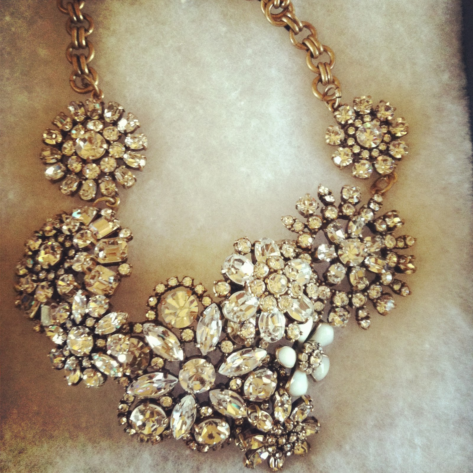 jcrewismyfavstore J Crew Flower Lattice Necklace Crystal and Crystal Color