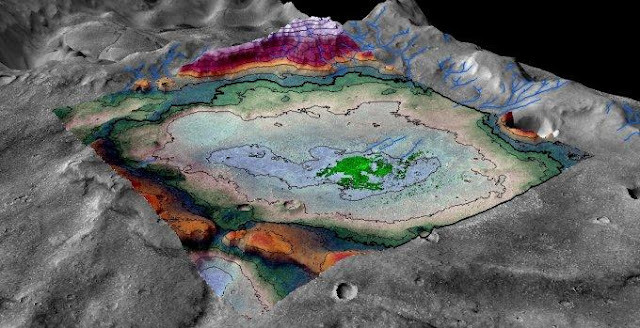 A perspective rendering of the Martian chloride deposit and surrounding terrain. Image by LASP / Brian Hynek