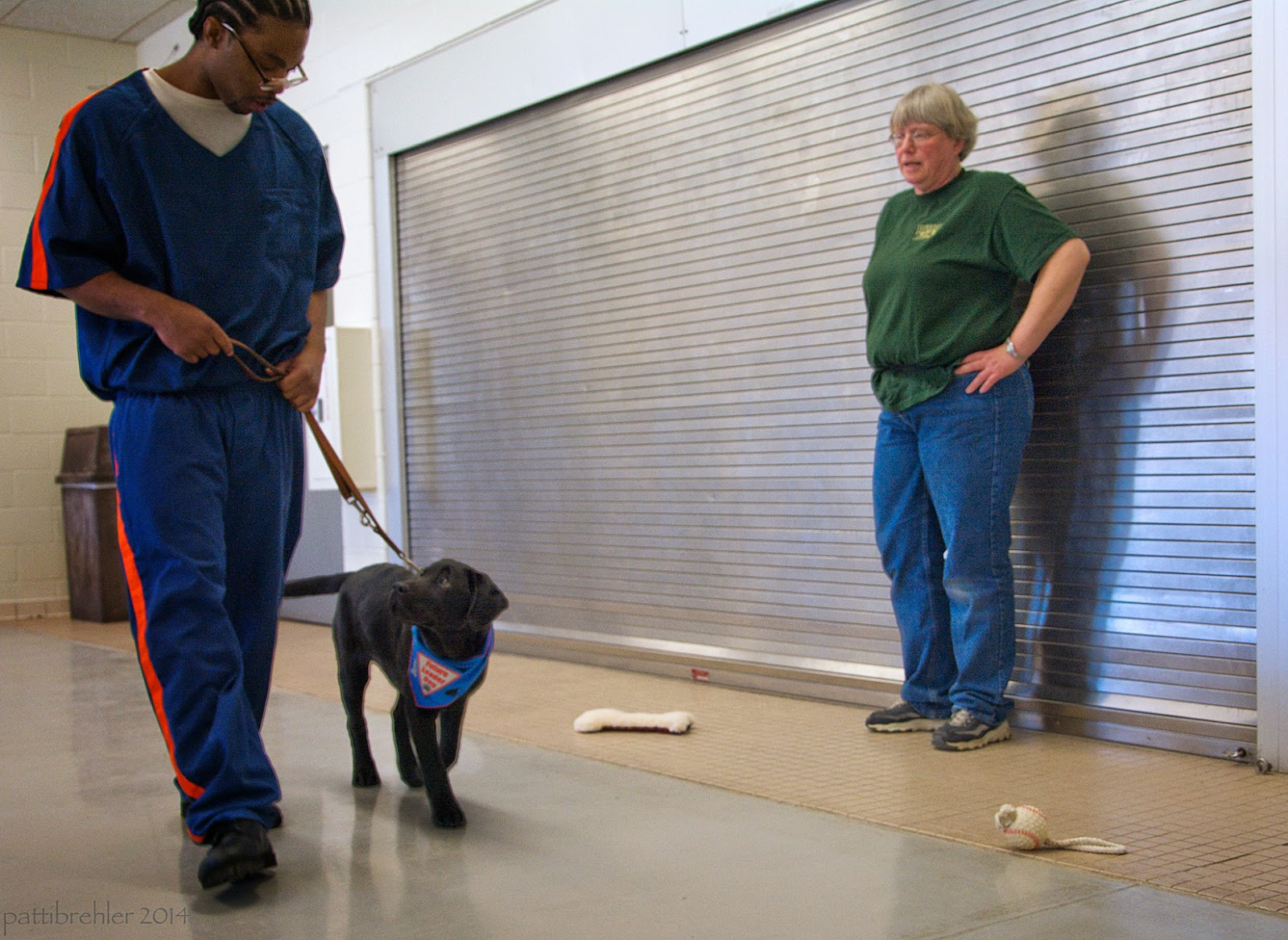 This time an african american man dressed in the blue prison uniform is walking toward the camera holding the leash of a small black lab puppy. The puppy is wearing the blue Future Leader Dog bandana and is keeping a loose leash, looking up at the man, who is looking down at the puppy. The woman is still standing against the metal wall with her hands on her hips.