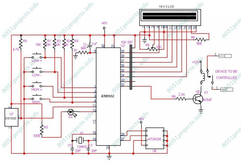 Elektronology  Temperature Controller Using Ds1820 And Lcd