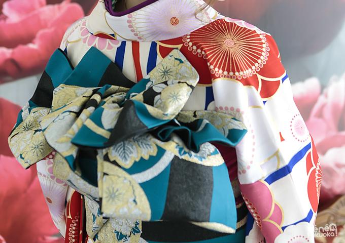 Béné no Fukuoka - furisode, noeud d'obi